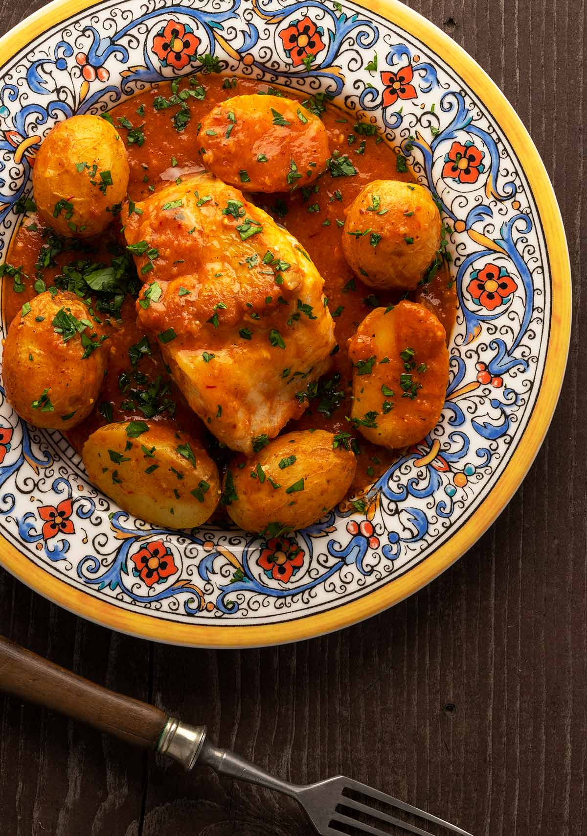 Catalan monkfish recipe on a plate