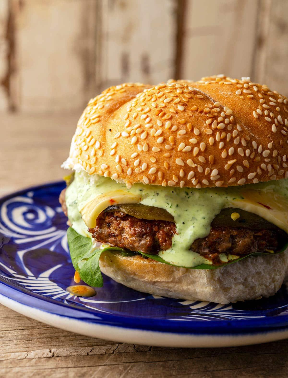 Closeup view of a chorizo burger on a plate