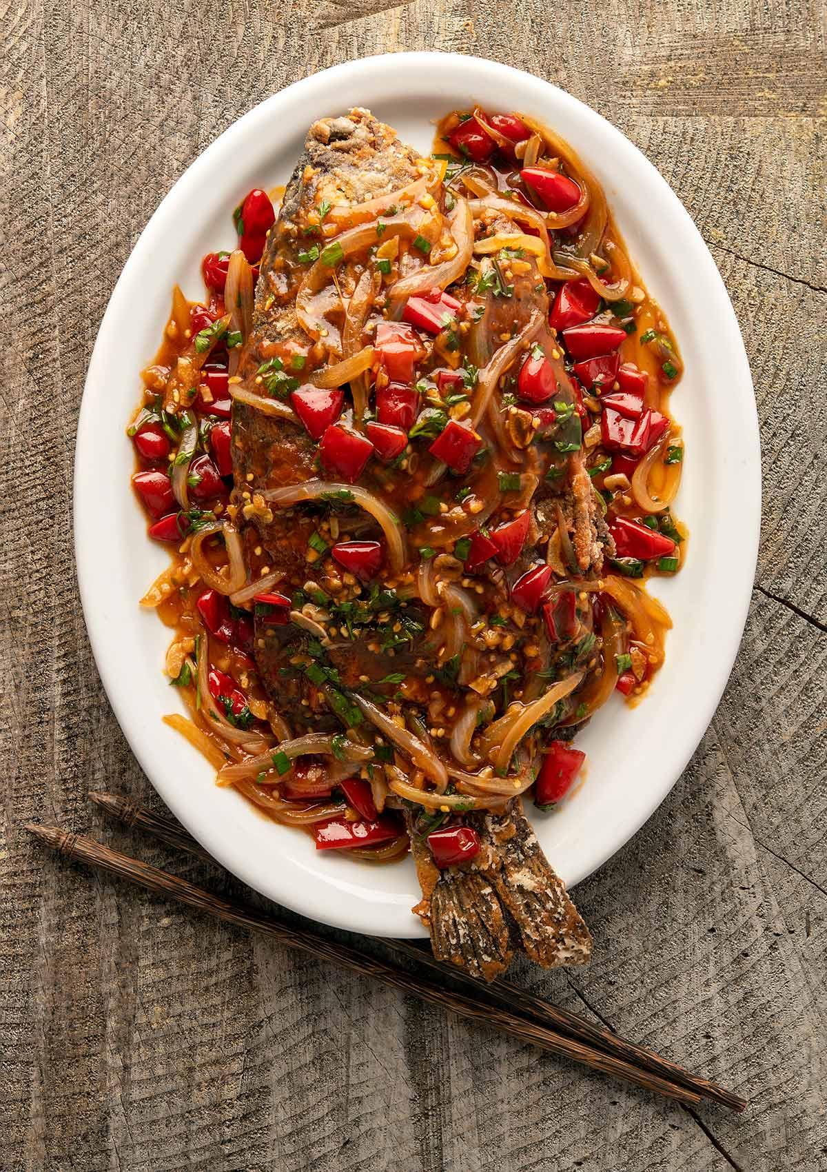 Overhead view of Chinese crispy fried carp recipe