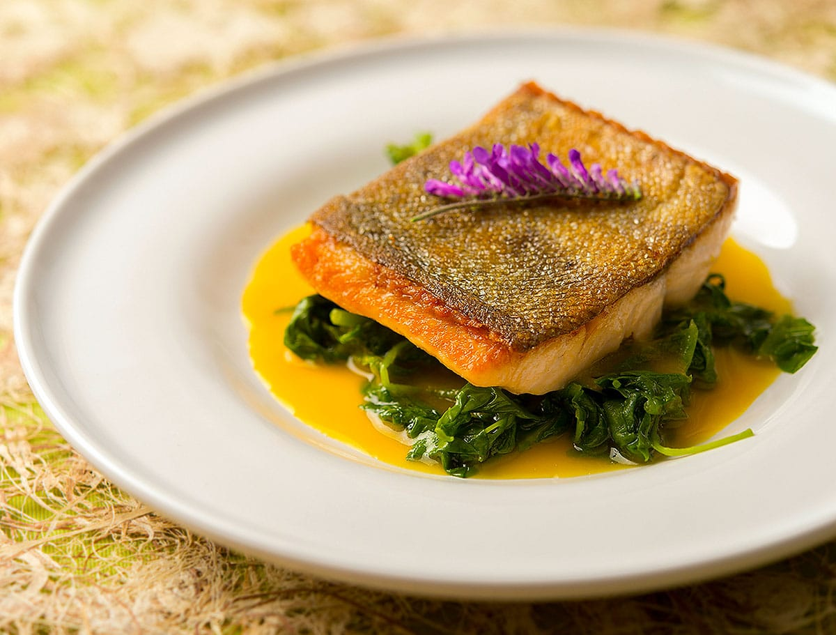 trout with orange saffron sauce and greens on a plate.