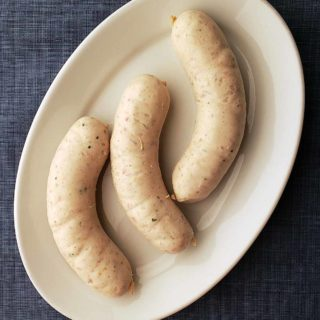 Weisswurst sausage links on a plate