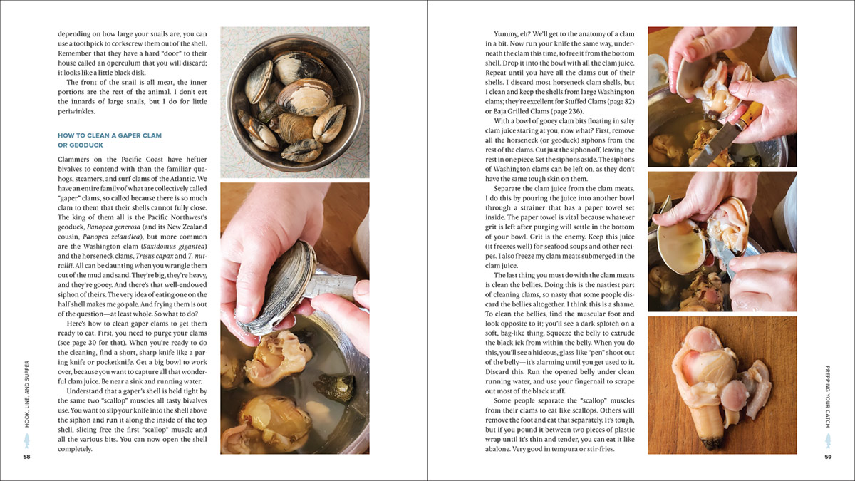 two pages in Hook Line and Supper showing how to clean clams