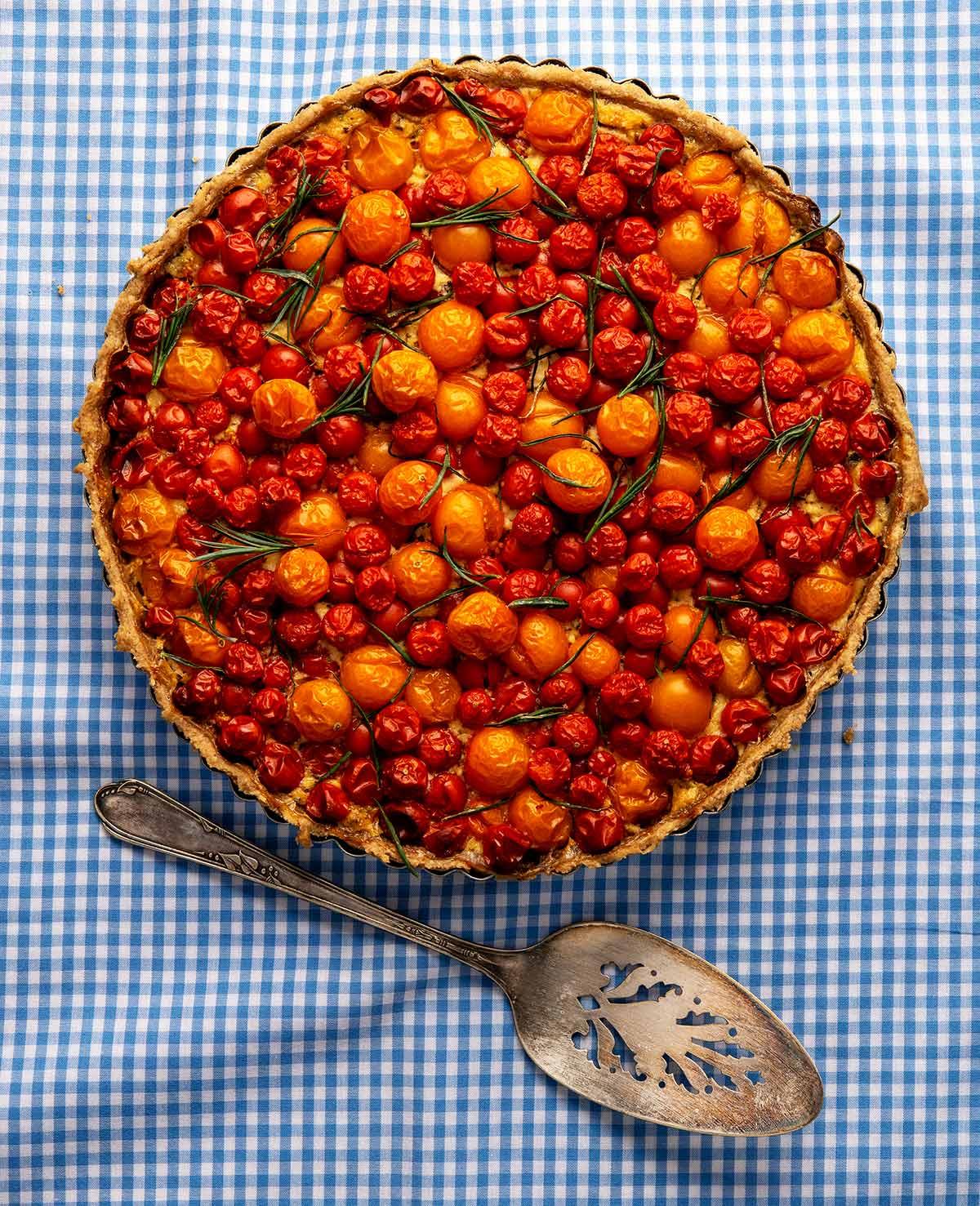 A cherry tomato tart ready to serve.