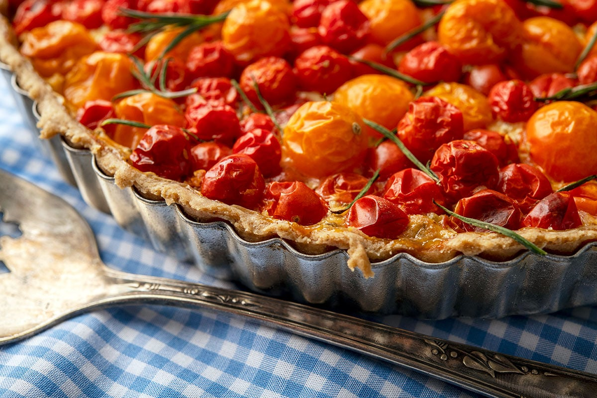 Closeup of a cherry tomato tart