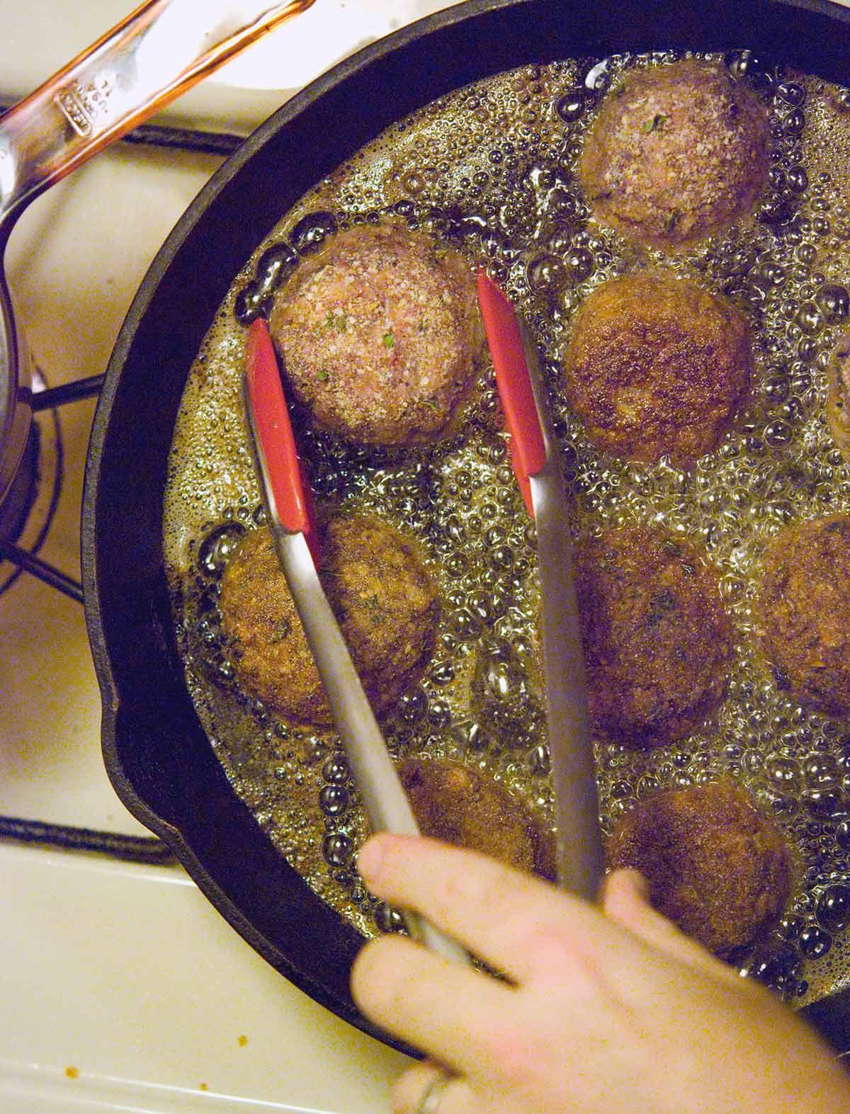 Frying venison meatballs