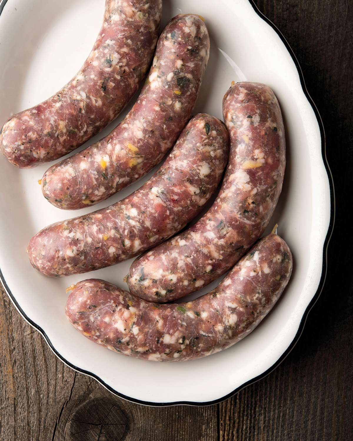 A platter of garlic sausages made from venison and pork
