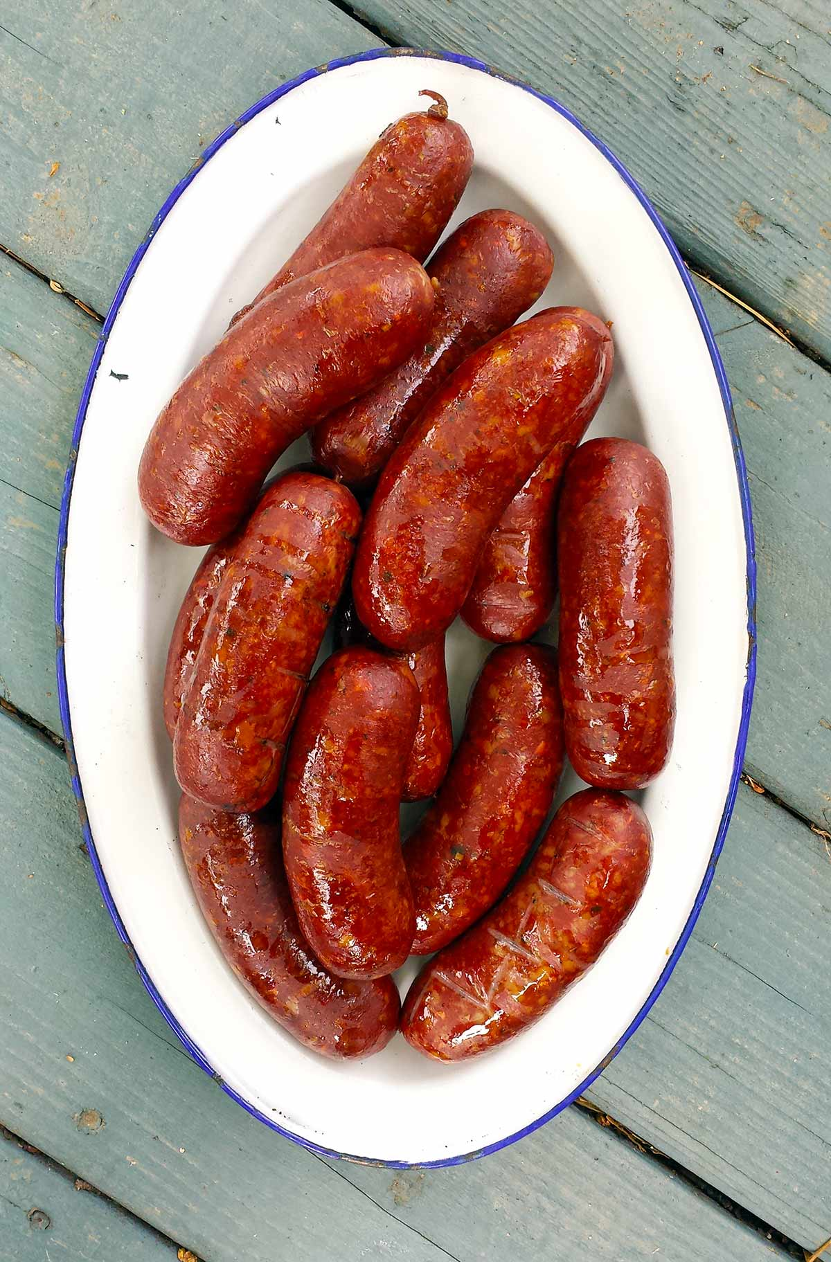 A plate of smoked venison sausage