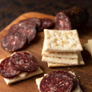 venison summer sausage on Saltines