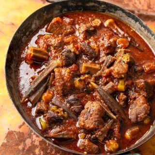 Bamia recipe with meat and tomatoes