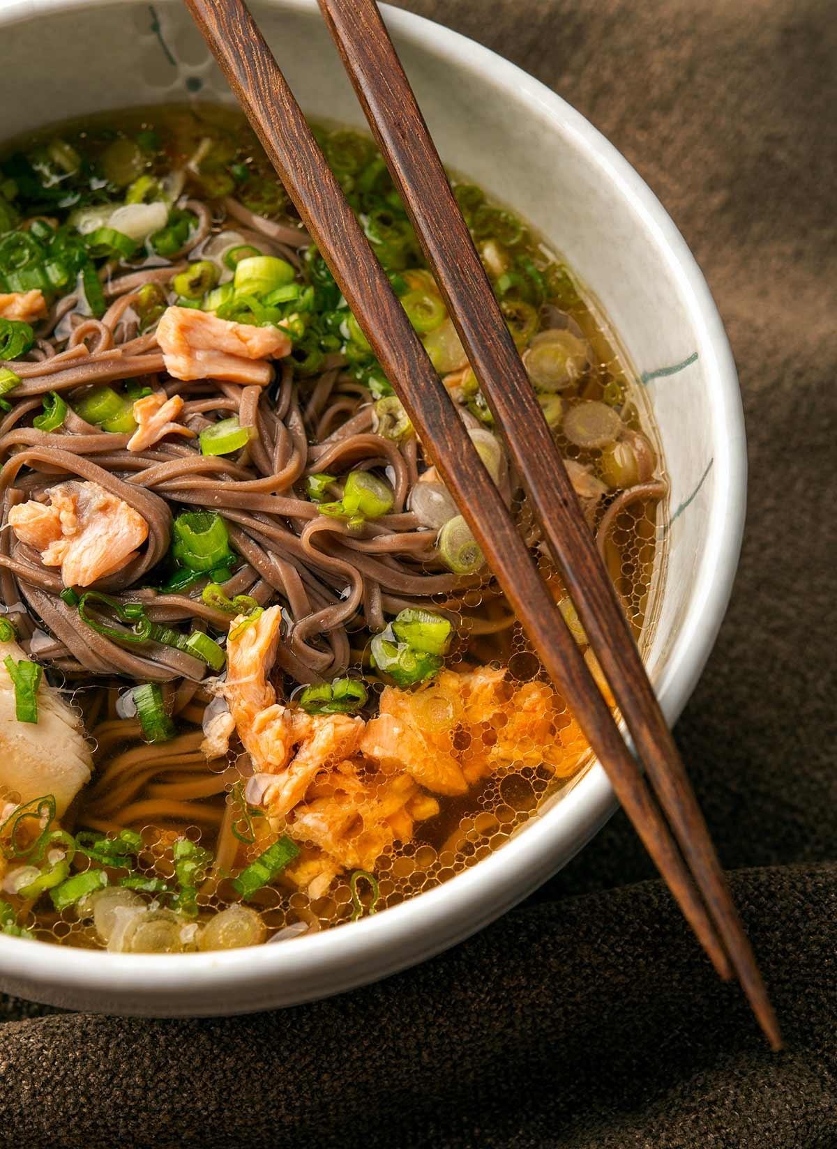 Closeup of salmon miso soup