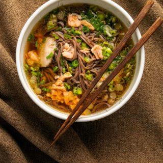 A bowl of salmon miso soup