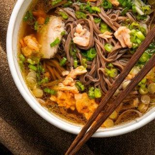 Salmon miso soup recipe in a bowl