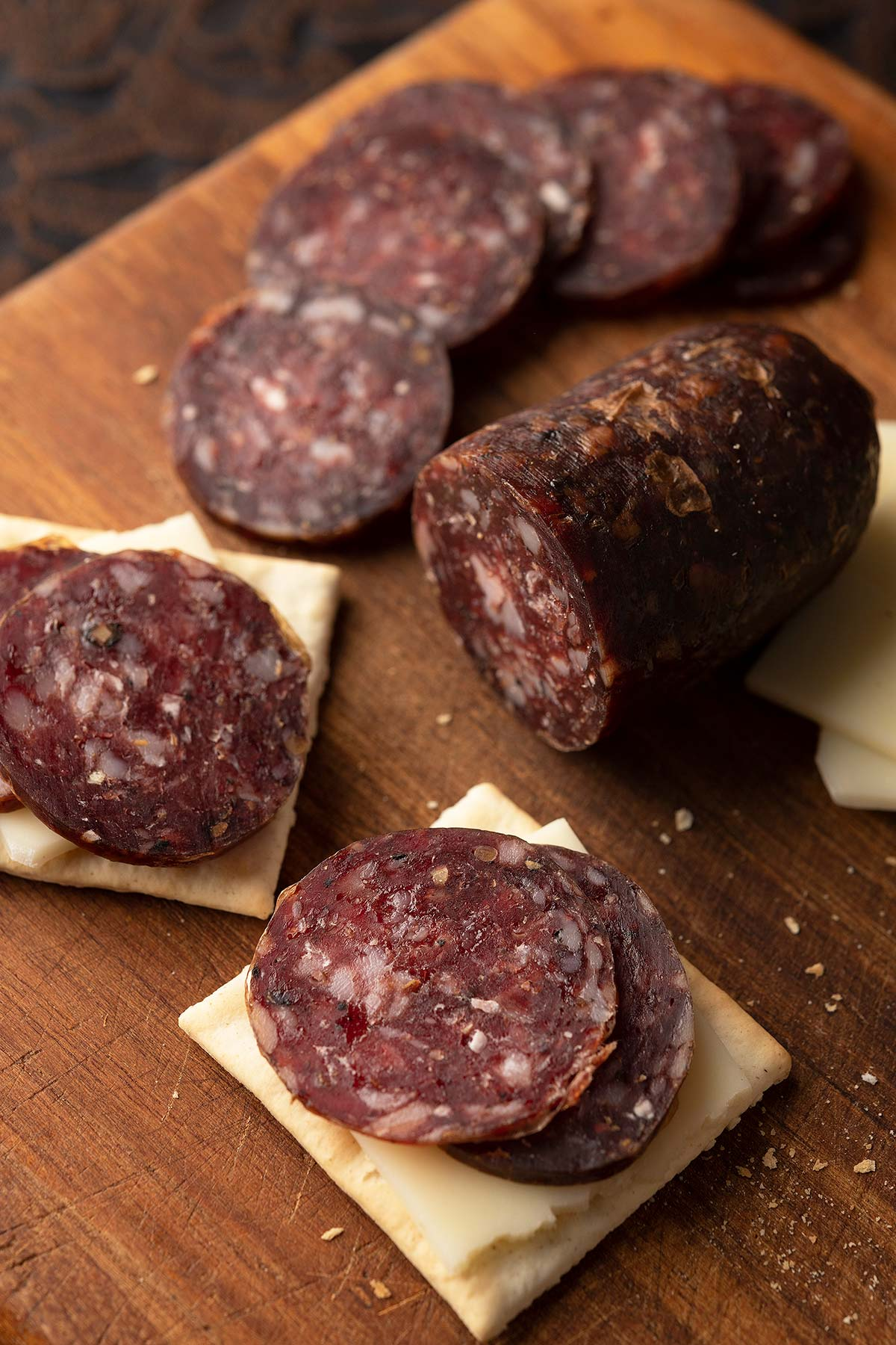 Venison summer sausage on crackers